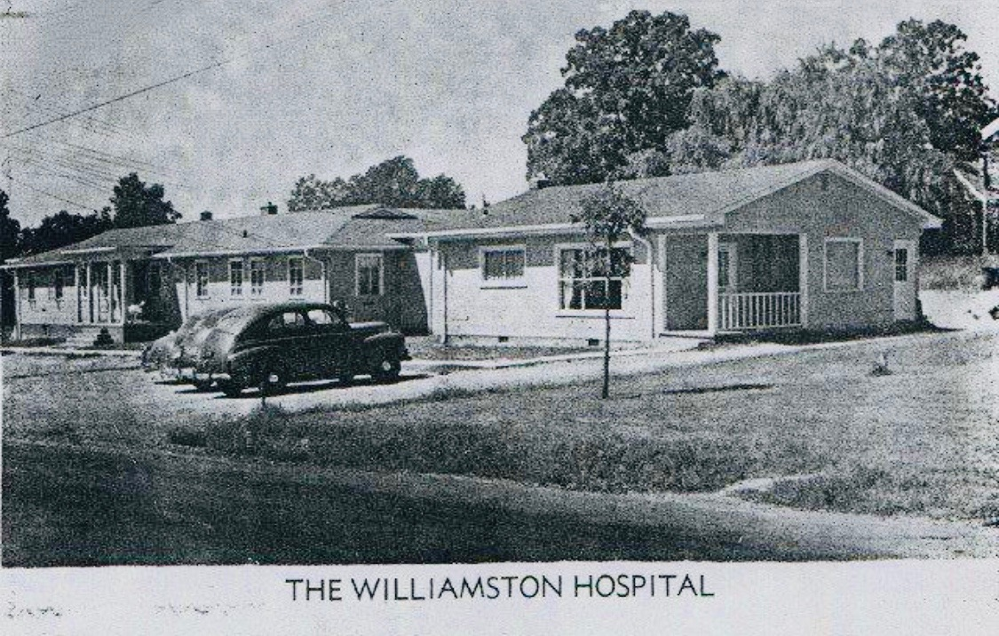 "Dr. Dwight Smith came to Williamston in 1949 and established a sixteen-room clinic that expanded to become the Williamston Hospital, classified as a ""general hospital"" by the State Board of Health in 1958. Sold to the Anderson Hospital System in 1988, it became a substance-abuse treatment center in 1989.  Welborn, Gene. A Town Springs Forth: The Story of Williamston, South Carolina. Bountiful, Utah: Family History Publishers, 2000."